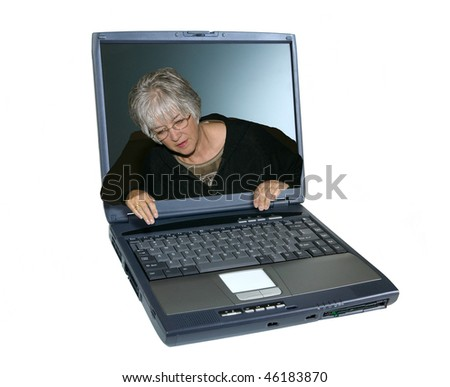 Woman coming out of a laptop screen looking at the keyboard.