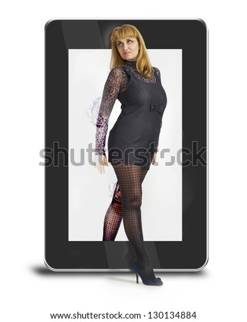 woman coming out of the tablet