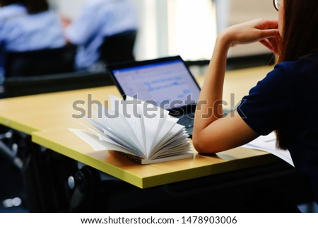 woman concentrate learning or working
