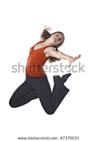 Woman contemporary dancer jumping, isolated over white