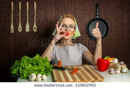 Woman cook with thumb up, yes