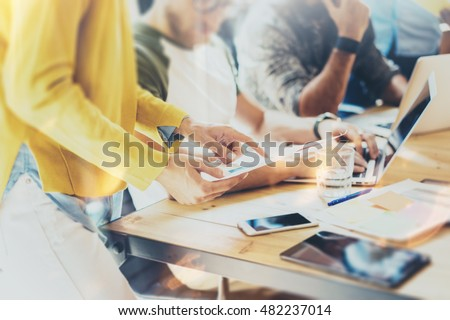 Woman Coworker Making Great Business Decisions.Young Marketing Team Discussion Corporate Work Concept Office.Startup Creative Idea Presentation Tablet.Hipsters Working Wood Table Paper Plans.Blurred #482237014
