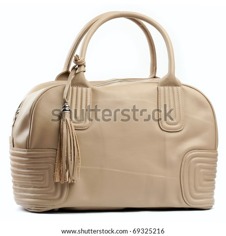 Woman creamy leather bag on white background