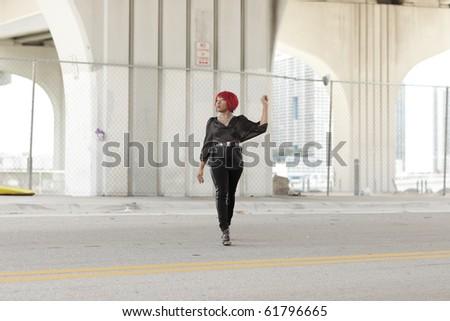 Woman crossing the street