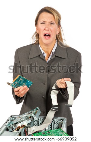 Woman crying over her broken computer