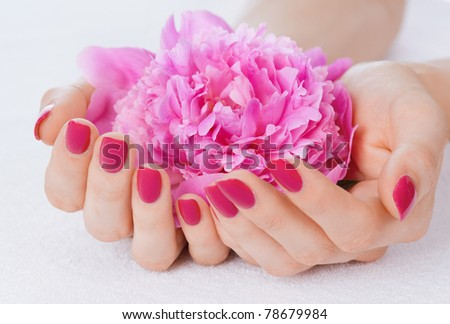 Woman cupped hands with manicure holding a pink flower