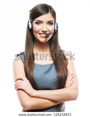 Woman customer service worker, call center smiling operator with phone headset