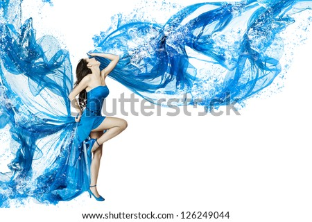 Woman dance in blue water dress dissolving in splash. Isolated over white background