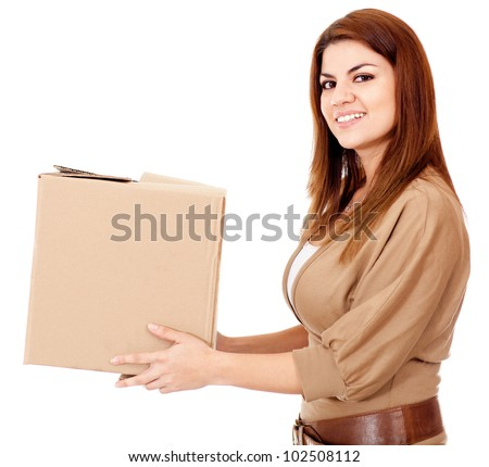 Woman delivering a package - isolated over a white background