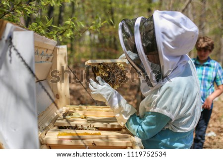 Woman demonstrating care and maintenance of a top bar honey bee hive.