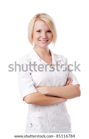 Woman doc. Isolated over white.