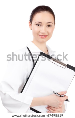 woman doctor in uniform stay over white background