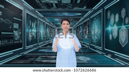 Woman doctor interacting with interfaces against background with medical interfaces #1072626686