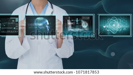Woman doctor interacting with medical interfaces against bluebackground #1071817853