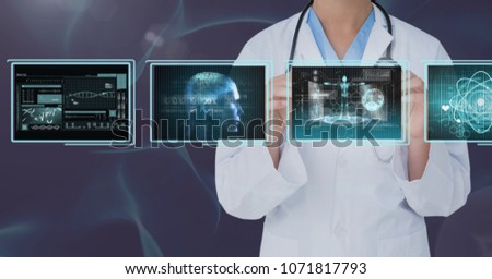 Woman doctor interacting with medical interfaces against purple background #1071817793