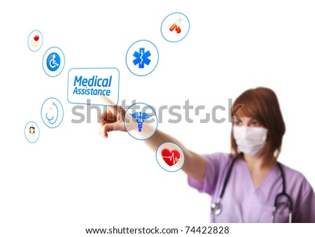 Woman doctor pressing digital button, selective focus, isolated on white