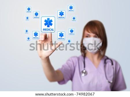 Woman doctor pressing digital button, selective focus, medical theme
