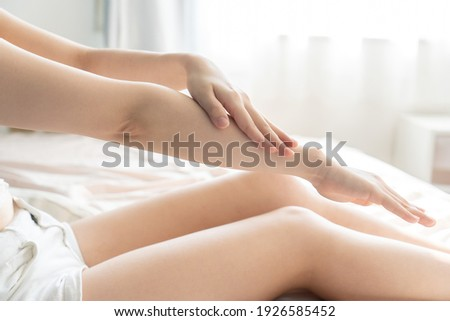 Woman doing skin care in the room ストックフォト ©