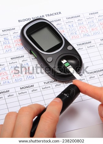 Woman doing test for determination level sugar, medical form with results of measurement of sugar, concept for diabetes