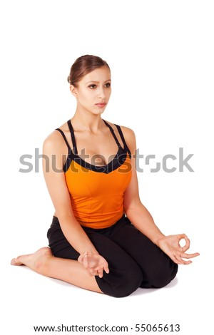Woman doing thighs stretching yoga posture called Hero Pose, sanskrit name: Virasana, great prenatal exercise, isolated on white
