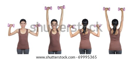 WOMAN DOING WORKOUT WITH WEIGHTS