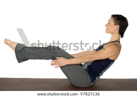 Woman Doing yoga and working with computer in a white background