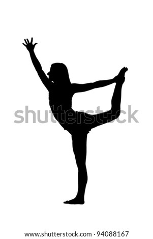 woman doing yoga, black and white graphic - stock photo