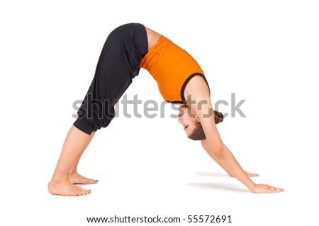 Woman doing yoga exercise called Downward Facing Dog, sanskrit name: Adho Mukha Svanasana, good pose to calms the brain, relieve stress, depression, headache, insomnia, back pain, and fatigue