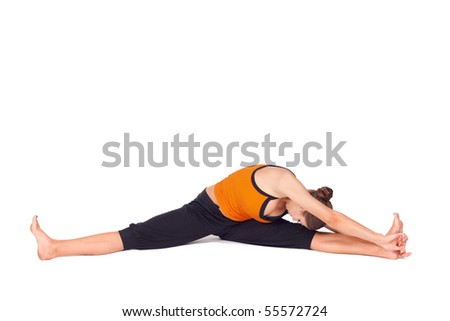 Woman doing yoga exercise called Side Seated Angle Pose, sanskrit name: Parsva Upavista Konasana, great pose for cyclists to stretch out hamstrings and lower back, isolated on white background