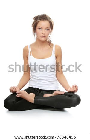 woman doing yoga pose  easy pose sanskrit name