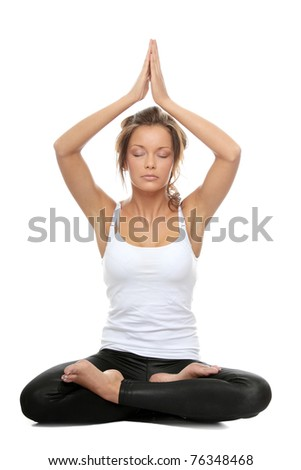 Woman doing yoga pose - Easy Pose, sanskrit name: Sukhasana isolated on white background
