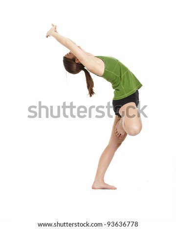 woman doing yoga, tree position, clipping path included