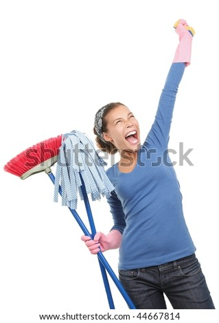 Woman done cleaning being very excited and happy. Beautiful mixed race asian / caucasian model isolated on white background.