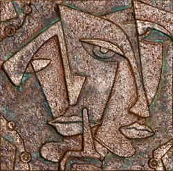 Woman double portrait, cubism art style, abstract background