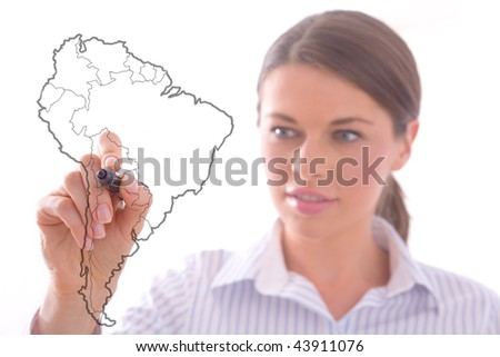 Woman draw a South America map on a whiteboard