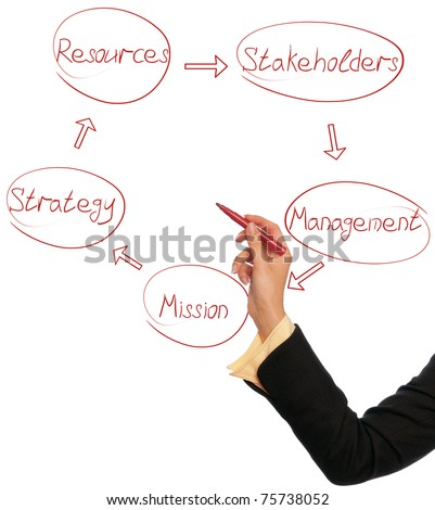 Woman drawing a business diagram of management cycle