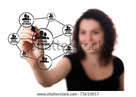 woman drawing a social network scheme on a whiteboard (selective focus) - stock photo