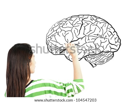 woman drawing human brain diagram