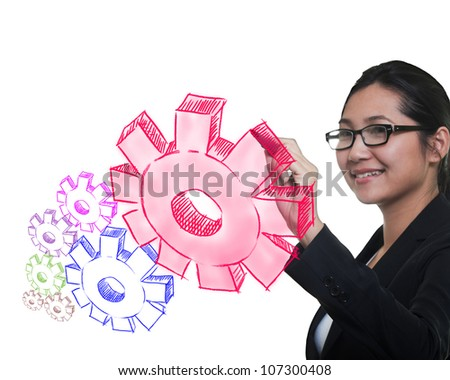 woman drawing idea board of business process