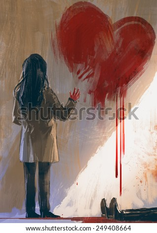 Stock Photo woman drawing red heart with blood on the wall,digital painting,illustration