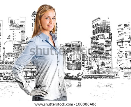 Woman drawn in front of a big city