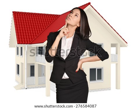 Woman dreams of buying a country house.