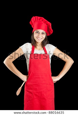 Woman dressed as a cook over black backgound