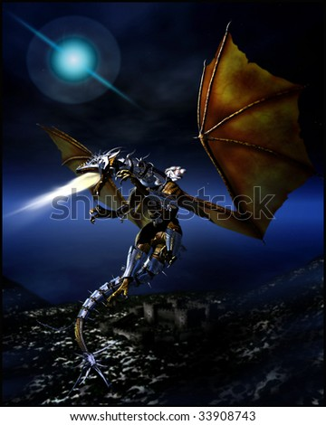 Woman dressed in white robes riding a armor clad flame breathing dragon to battle flying high in the night sky