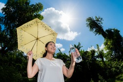 Woman drinking water in hot summer