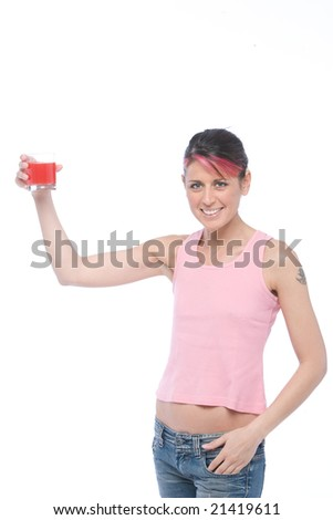 woman drinks a glass of orange juice isolated on white background