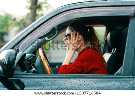Woman driving a  traveling to the countryside countryside transport  #1507716584