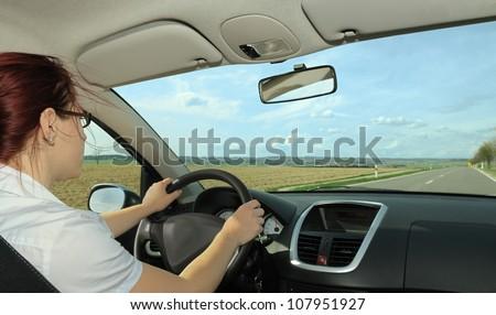 Woman driving with opened window Zdjęcia stock ©