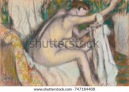 Woman Drying Her Arm, by Edgar Degas, 1888-92, French impressionist pastel and charcoal drawing. Critics attacked the ungainly poses of his bathers, comparing them negatively against the conventional