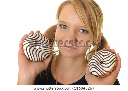 woman eating a delicious donut against a white background